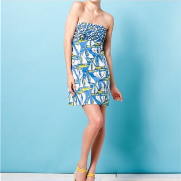 Lilly Pulitzer Dresses & Skirts - Lily Pulitzer Dockside Sailboat Strapless Dress 00